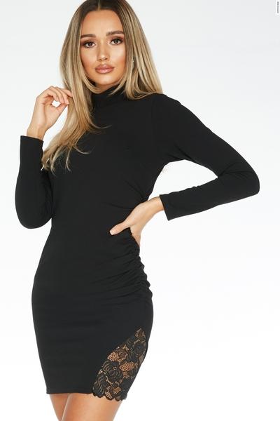 Black Lace Insert Bodycon Dress